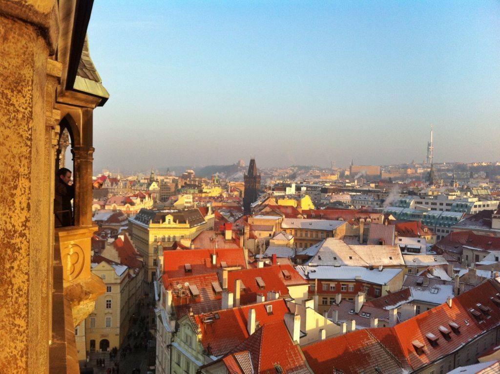 Vista sui tetti della città di Praga