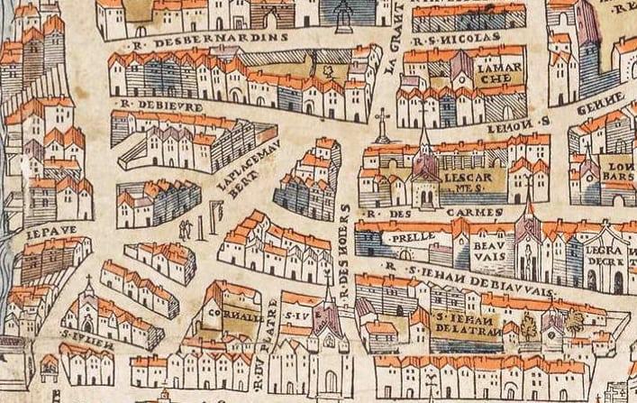 Mappa di Place Maubert del 1550