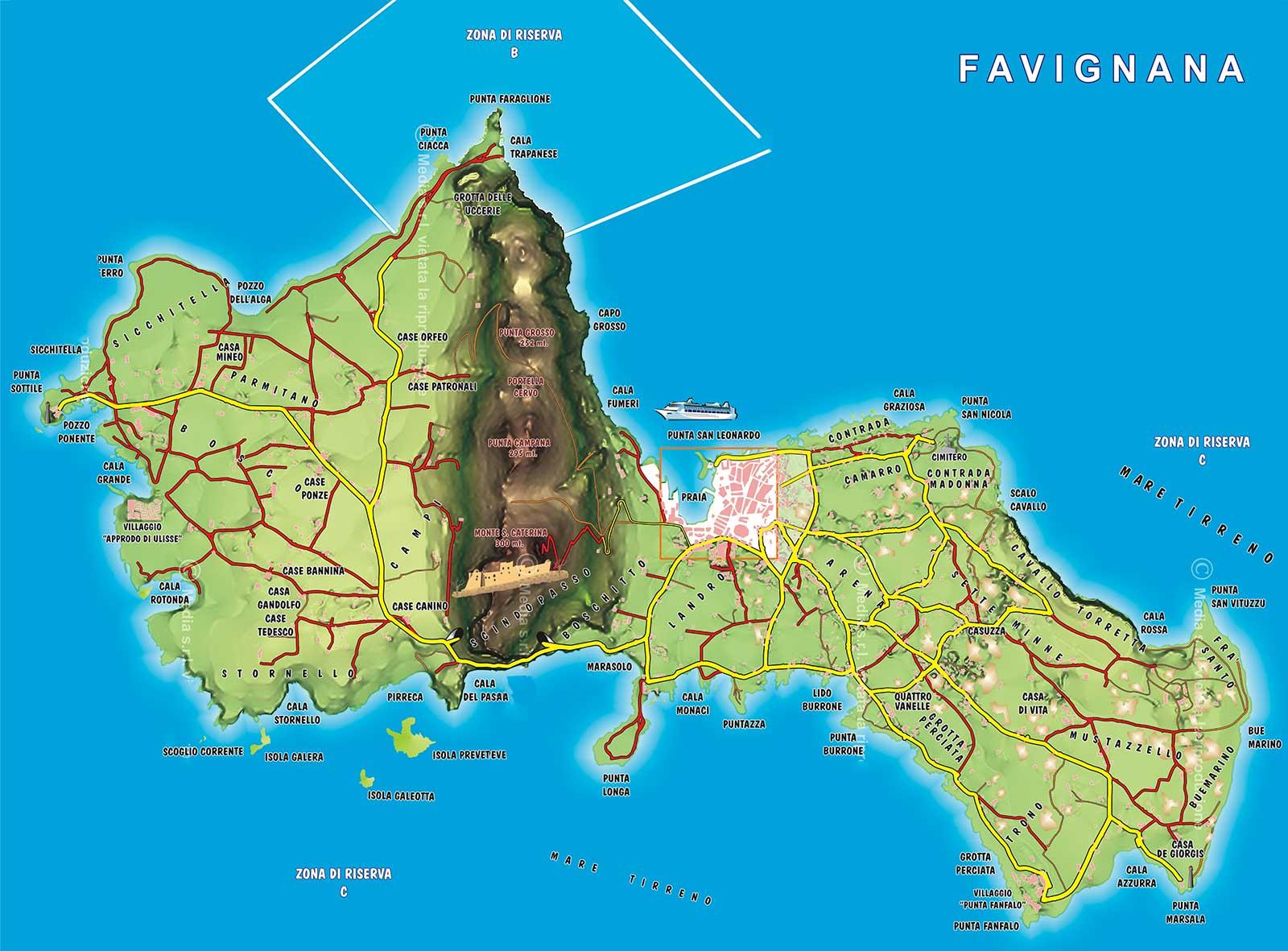 isola di Favignana mappa