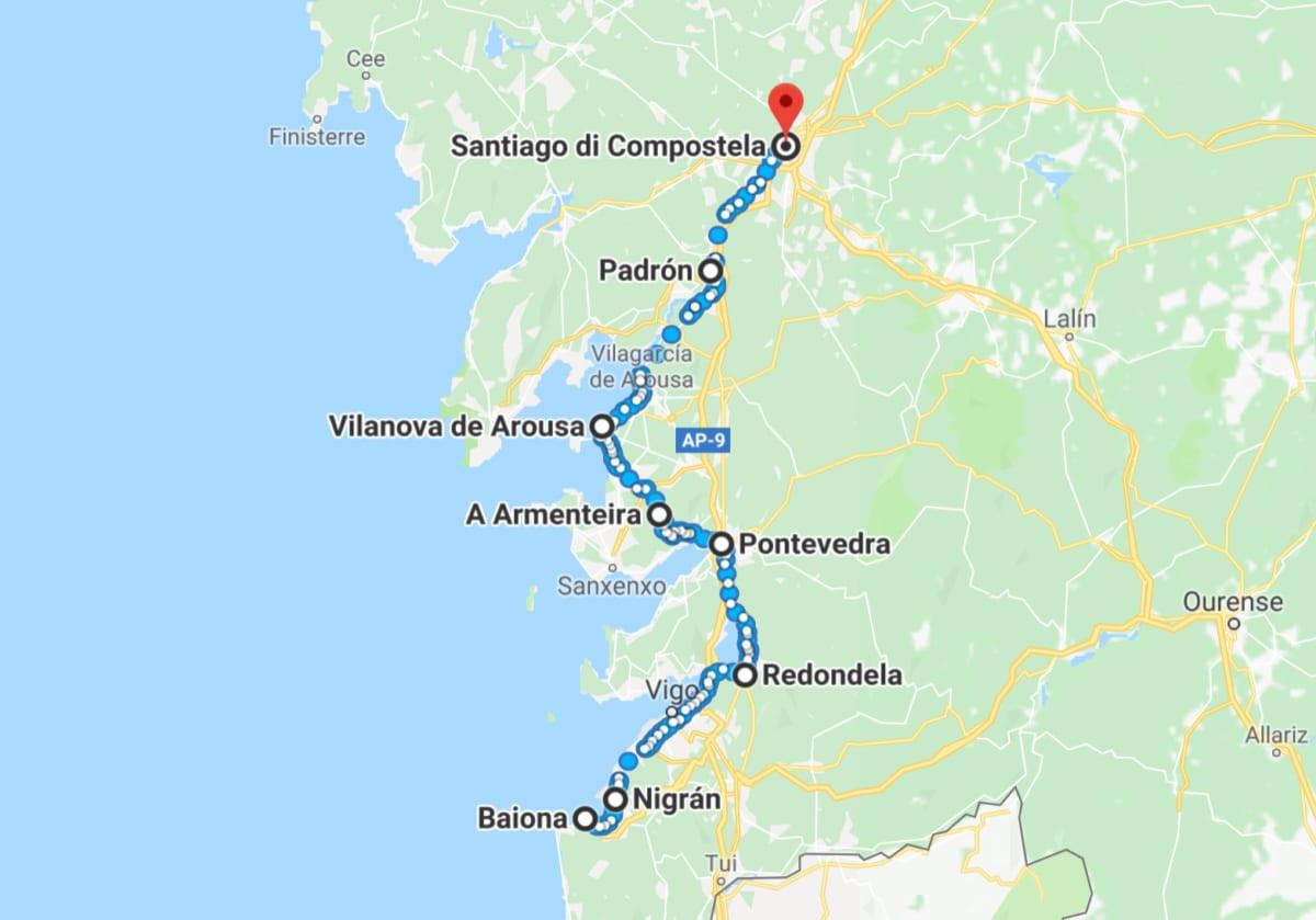Camino portoghese Espiritual Mappa