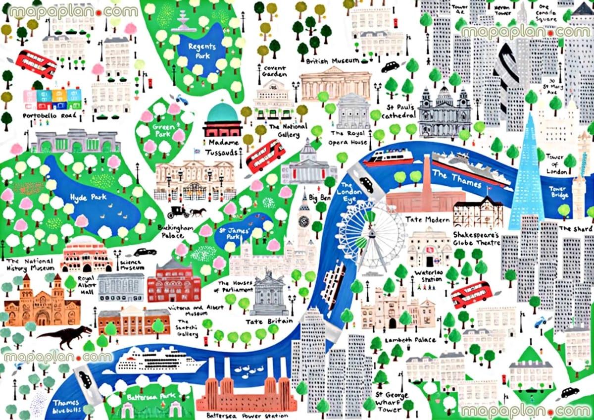 Londra mappa attrazioni turistiche