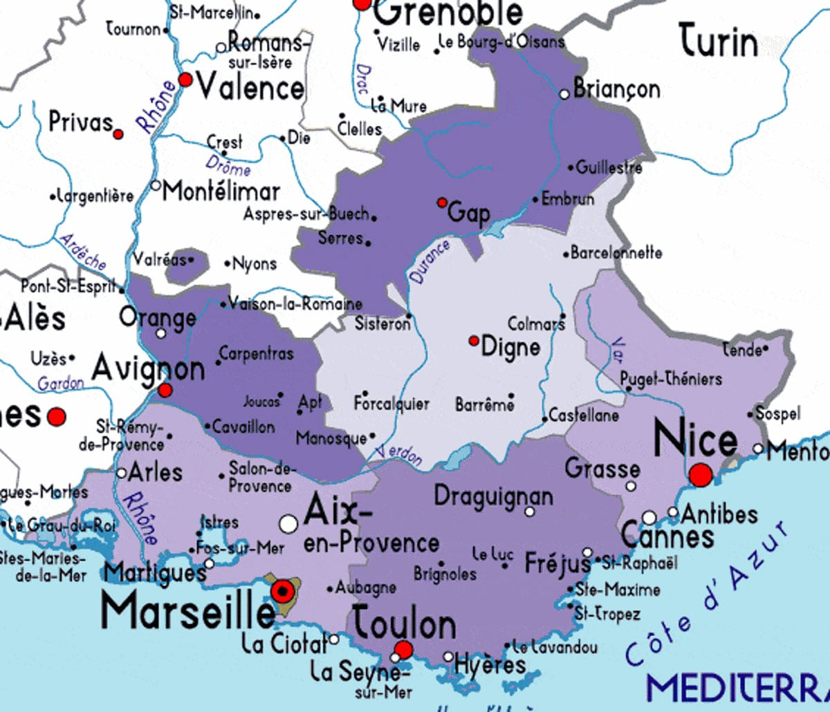 map provence map