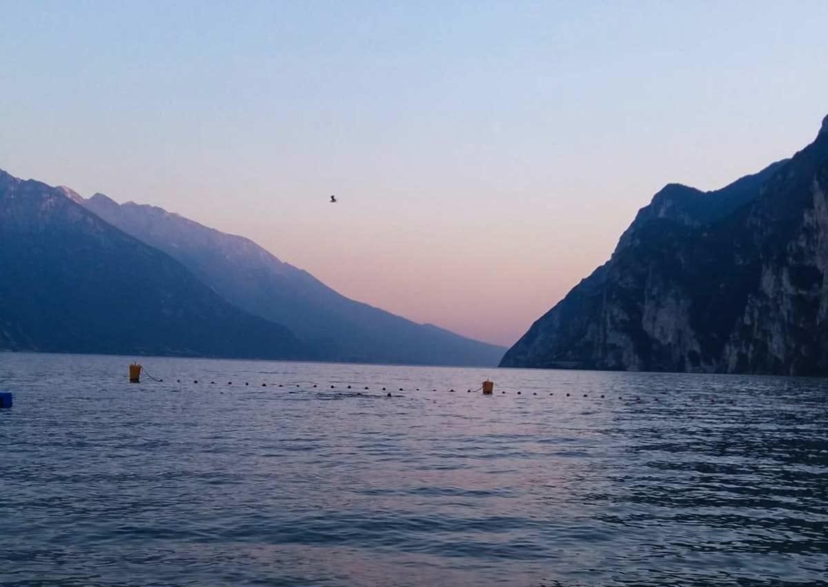 sunset path of Ponale Lake Garda