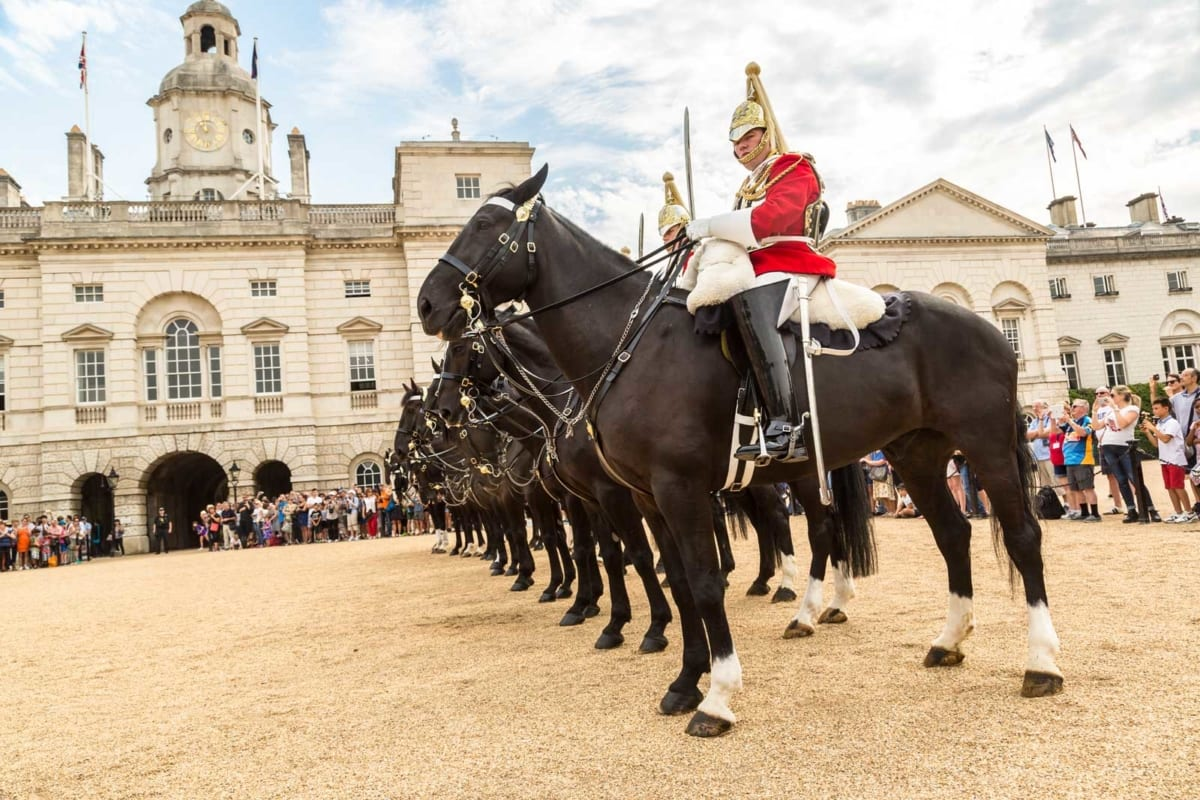 Changing the guard on horseback