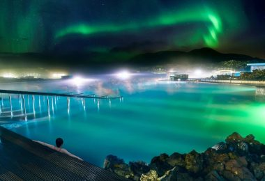 Islanda laguna Blu aurora boreale
